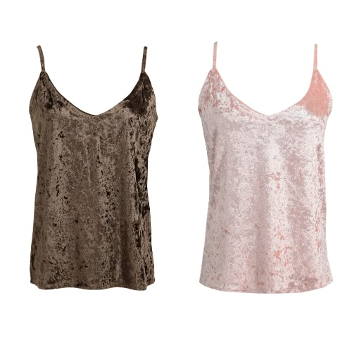 Sexy Women Cami Top Velvet Spaghetti Strap Plunging V-Neck Solid Sleeveless Casual Vest Pink/Coffee, TOMTOP  - buy with discount