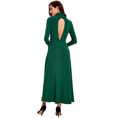 Women Long Dress Cut Out Back Turtle Neck Long Sleeves A-Line Retro Stretch Dress Yellow/Green, TOMTOP  - buy with discount