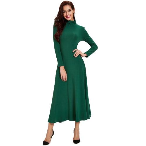 Długa suknia Kobiety Cut Out Back Turtle Neck Długie rękawy-line Retro Stretch Dress Żółty / Zielony
