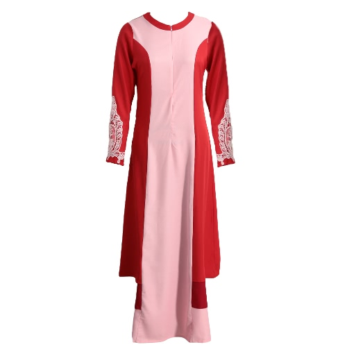 New Fashion Women Muslim Dress Spliced Color Block Crochet Lace Zipper Long Sleeve Arab Maxi One-Piece