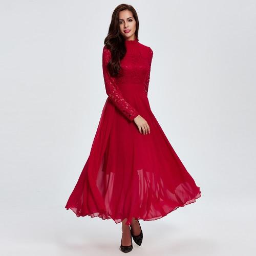 5970fbc77091 New Sexy Women Chiffon Maxi Dress Lace Ruffled Hollow Out Long Sleeve  Evening Party Long Dress