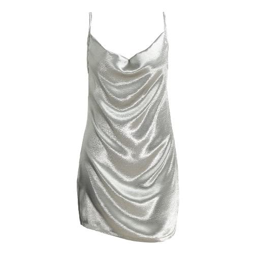 New Moda feminina vestido de cetim deslizamento Pilha Collar Strappy Voltar Zip Cocktail Party Magro Mini vestido de prata