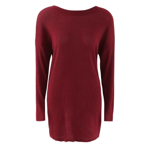 New Fashion Women Knitted Dress Solid Color Round Neck Long Sleeve Mini Dress Grey/Red