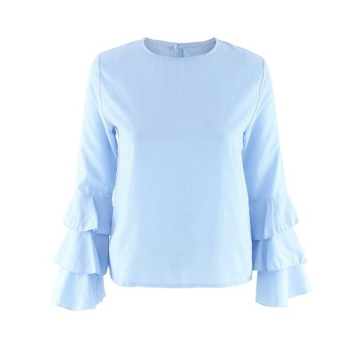 Las nuevas mujeres de la blusa de manga larga acampanada O Cuello ojo de la cerradura Volver Sólido Señora Casual top de la blusa azul claro