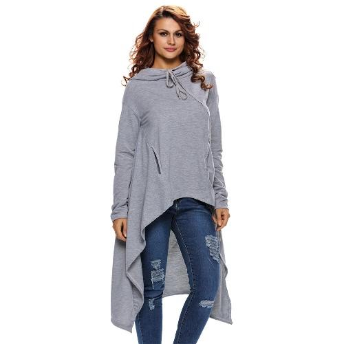 Neue Art und Weise Frauen Hoodie Feste Kordelzug Unregelmäßige Aufmaß lange Hülsen-beiläufige Sweatshirt Grau