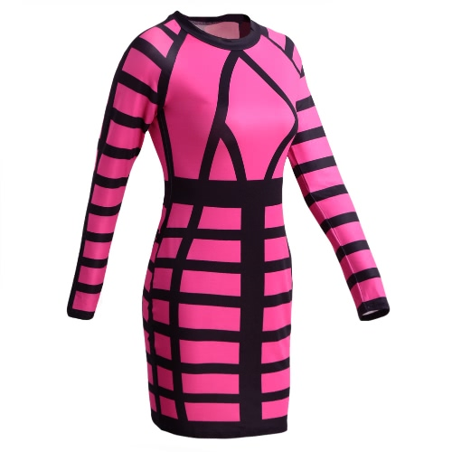 Sexy Women Mini Bodycon Dress Color Block Stripe O Neck Long Sleeves Clubwear Party Evening Dress Rose/Yellow, TOMTOP  - buy with discount