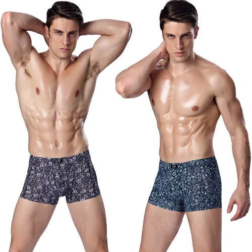 Mode Männer Unterhosen Boxer-Kurzschlüsse Flora Print elastische Taille atmungsaktive Unterwäsche Slip blau/violett