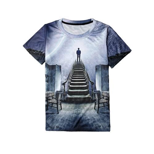 Nowa moda mężczyzna 3D Print T-shirt Smiley Emotion Shark Poker Galaxy O Neck Krótki rękaw Funny Punk Tees Top