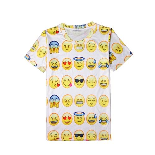 Fashion 3D Print Emoji Galaxy O Neck Short Sleeve Men's Funny T-Shirt