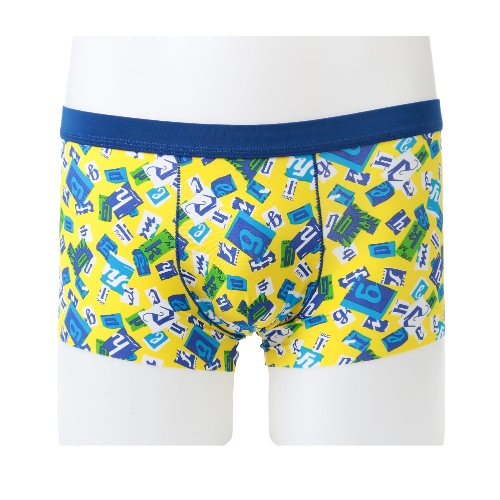7381504b68 Fashion Men Boxer Shorts Print Elastic Waist U Convex Seamless Trunks  Underwear Underpants Yellow Black