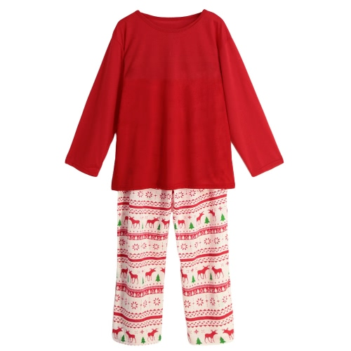 New Men Two-Piece Set Pajama Christmas Sleepwear O-Neck Long Sleeves Casual House Coat Top Pants Red