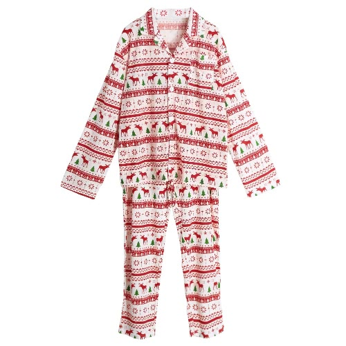 Los nuevos hombres de dos piezas pijama de la ropa de noche de Navidad vuelta-Abajo manga larga de cuello botones blancos