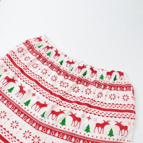 Новый Мужчины Два-Piece Set Пижама Рождество Пижама отложной воротник с длинными рукавами Кнопки Белый фото