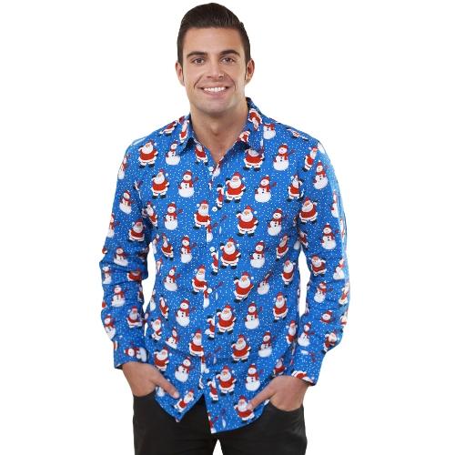 New Autumn Men Camisa de impressão de Natal Camisa de vestido de manga longa com desenhos animados de férias Casual Men Top