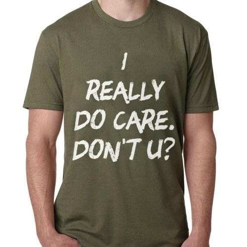 Повседневный простой я действительно забочусь о футболке с короткими рукавами Мягкие топы для лета фото