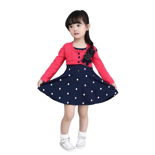 Dulce bebé niños chica vestido bordado de flores botón frontal punto impresión empalme manga larga Linda sandía vestido de princesa rojo/rosa/rosa