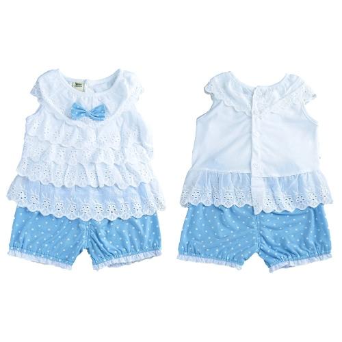 Nuevo chaleco Top blusa de niñas niños pantalones cortos en cascada volantes punto bordado sin mangas elastizada niños Casual lindo dos piezas Set