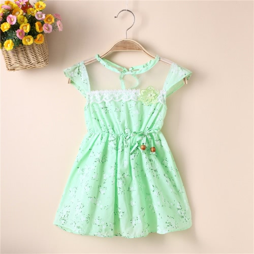 New Cute Girls Dress Floral Print Mesh Insert Elastic Waist Bow Beading Sleeveless Sweet One-Piece Pink/Yellow /Green