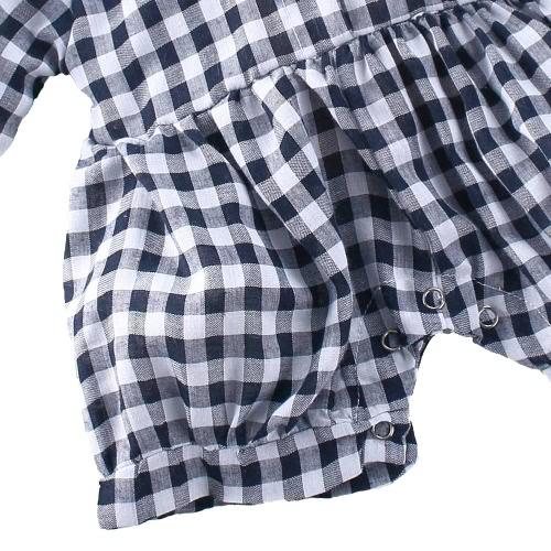 Мода младенческой новорожденного девочек комбинезон плед проверить короткие кнопка малыша Ромпер наряды синий/красный/черный