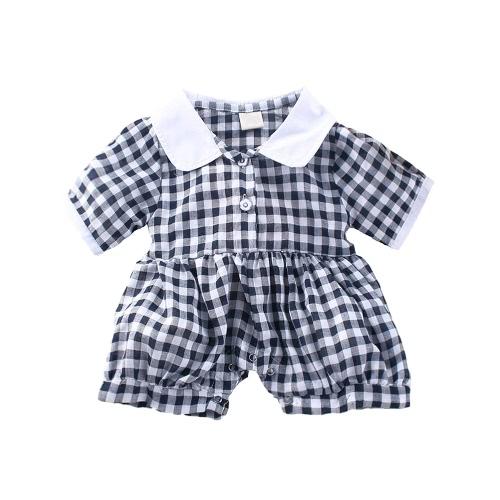 Moda infantil bebê meninas macacão Check xadrez manga curta botão da criança Romper roupas azul/vermelho/preto