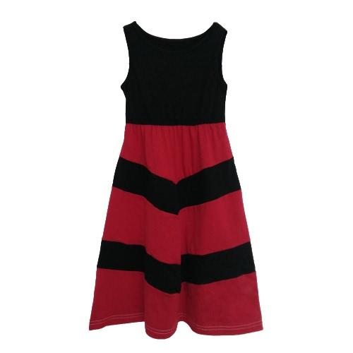 Nova Família Meninas filha vestido listrado longo sem mangas Color Block Bohemian Casual Beach Dress Vestido de Verão