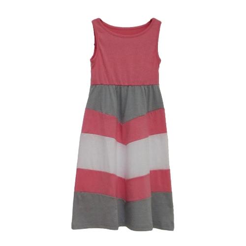 Las niñas nueva familia de la hija de rayas vestido largo sin mangas del bloque del color de Bohemia de la playa vestido ocasional Vestido de tirantes