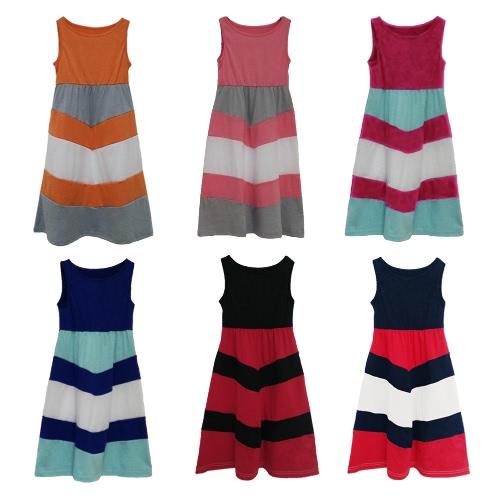 Новая семья девушки Дочь полосатой длинное платье без рукавов цвета Блок Bohemian вскользь платья пляжа Sundress фото