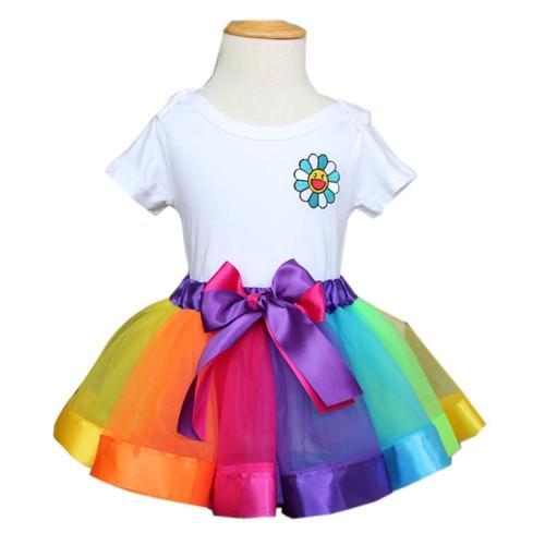 New Beautiful Rainbow Skirt Tutu Children Dancing Girls Skirts For Party Performance