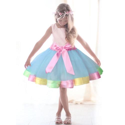 Nueva hermosa falda de arco iris falda de tutú niños faldas de baile de faldas para el partido de rendimiento