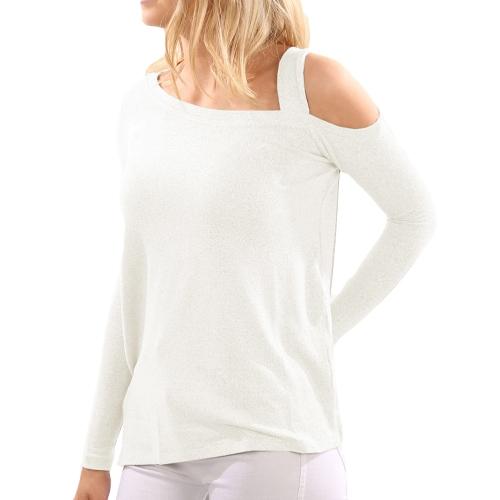 Las nuevas mujeres de la manera del invierno hicieron punto los suéteres asimétricos del Knitwear del dobladillo de la manga larga del suéter uno del hombro