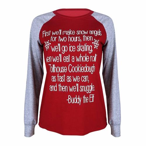 Moda Mujer Xmas Carta Impreso Camiseta Pullover Splicing Manga Larga Patches Navidad Basic Tee Tops Rojo