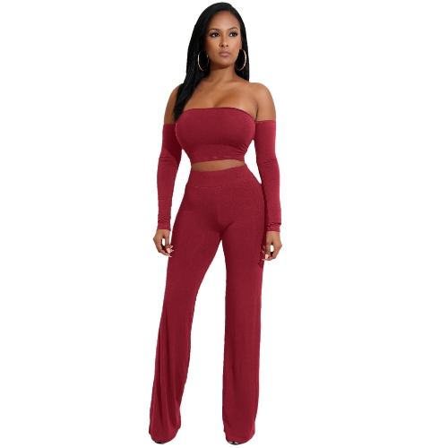Off Hombro Sexy Mujeres Dos Piezas Vendajes Backless Lace Up Slim Crop Top Pantalones Pantalones Club Ladies Trajes