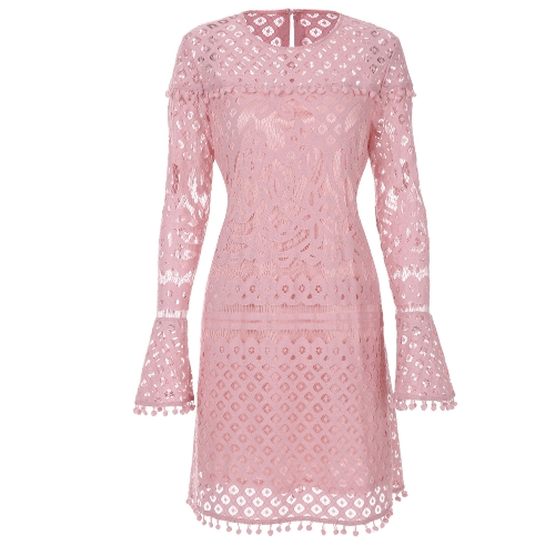 New Elegant Women Sheer Lace Dress Pom Pom Trims O Neck manica lunga foderato Mini abito rosa