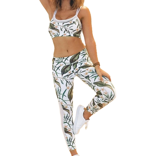 Moda Mulheres Ginásio Fitness Top Leggings Suit Floral Folha Print Mesh Running Sports Yoga Workout Tracksuit Verde