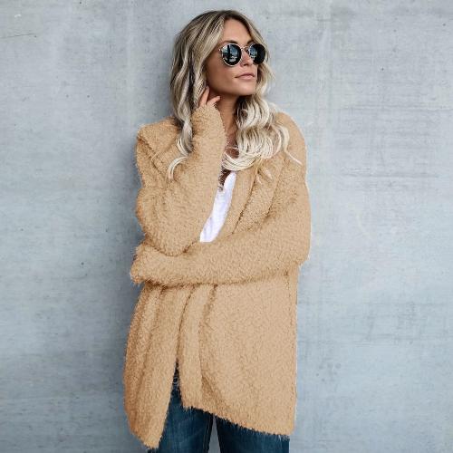 Moda Mulheres Velo Casaco com capuz Aberta Frente Manga comprida Sólido Casaco com capuz Casaco Exterior Camisola Loose