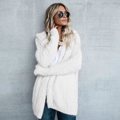 Las mujeres de moda con capucha de lana Cardigan abierto frente de manga larga sólido con capucha prendas de abrigo Suéter de abrigo suelto