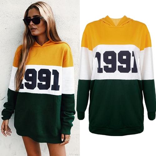 Sudaderas con capucha de las mujeres de la manera Número Bloque de color Manga larga Casual Suéter Pullover Tops con capucha Amarillo