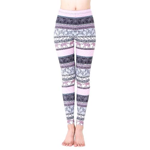 Pantaloni sottili stampati di Natale caldi delle ghette delle donne di autunno pantaloni di forma fisica dell'annata di alta vita dei pantaloni