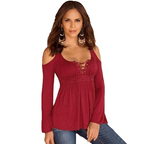 Blusa de las mujeres de la manera Hombro frío con cordones V cuello de manga larga Camisa Casual de color sólido T-Shirt Tops Azul / Borgoña / Negro