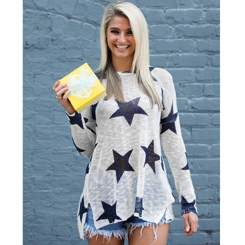 Mulheres mangas compridas Camisas de malha Sweater Star Print O Neck Dropped Shoulder Long Loose Knit Top