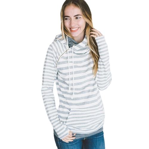 Nuevas Sudaderas con capucha de mujer de moda Stripe Self-tie Bolsillos Pullover Hooded Loose Tops Gris