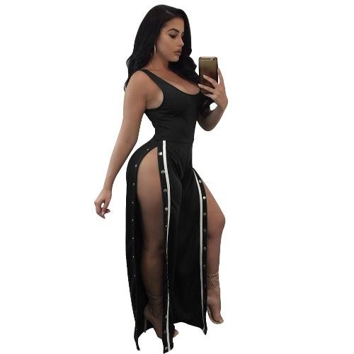Sexy Women Sleeveless Jumpsuit Scoop Neck Split Side Button Long Pants One Piece Playsuit Rompers Black
