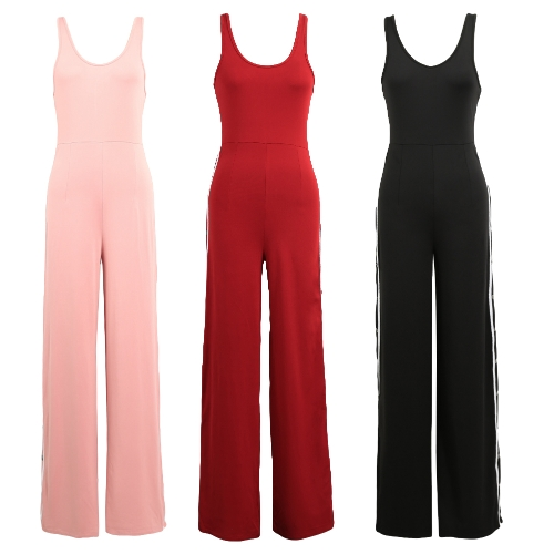 TOMTOP / Sexy Women Sleeveless Jumpsuit Scoop Neck Split Side Button Pantalones largos One Piece Playsuit Rompers Black / Red / Pink