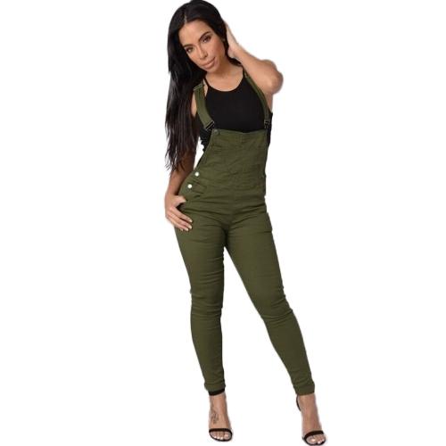 Damen Denim Latzhosen Overalls Verstellbare Taschen mit Knöpfen Jumpsuits Skinny Pants Bleistift Jeans Hosen Strumpfhosen