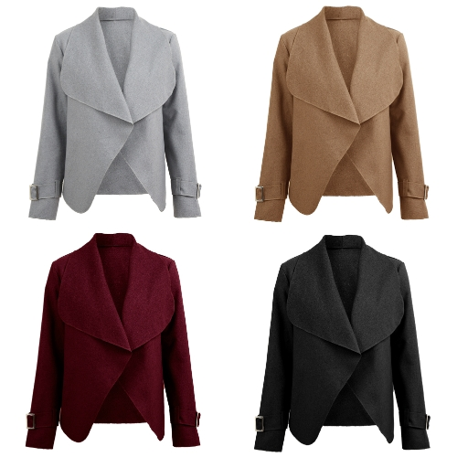 Women Short Coat Cardigan Turn-down Collar Open Front Long Sleeves Jacket Outwear Casual Overcoats Autumn