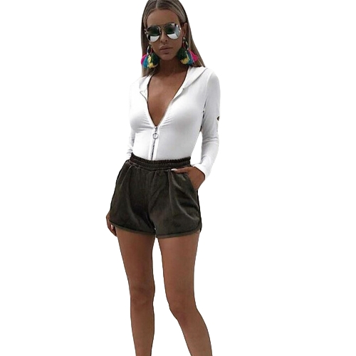 Nueva Sexy mujeres cremallera con capucha mono corte largo mangas de pierna alta Clubwear monos de una sola pieza