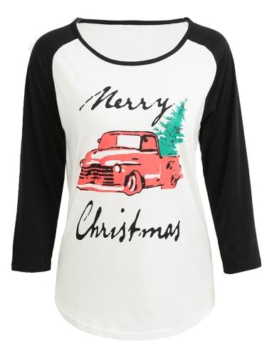 Nueva camiseta de las mujeres Letra de la Feliz Navidad de impresión Contraste de color de tres cuartos de manga blusa informal Tee Tops Negro