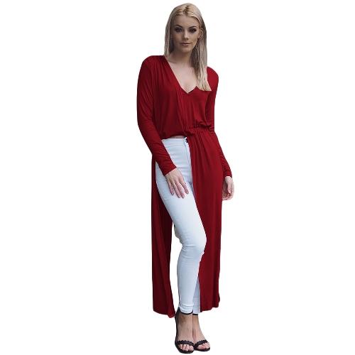 Nuevas mujeres atractivas dividieron el vestido maxi Barelegged con cuello en V de manga larga, largo vestido de fiesta Clubwear Negro / Borgoña / Caqui