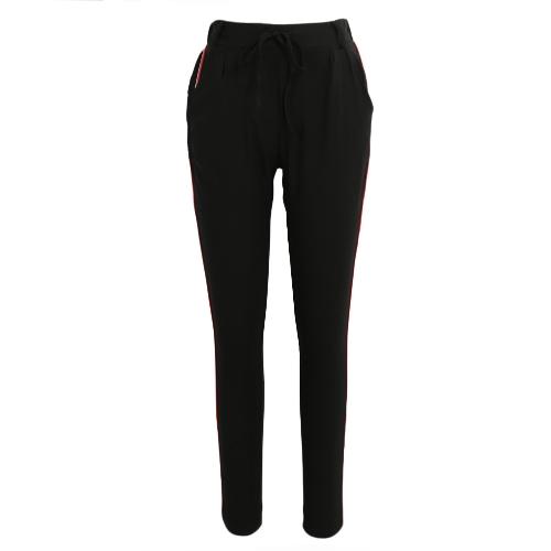 Mode Frauen Seite Gestreiften Hosen Hosen Casual Hohe Elastische Taille Kordelzug Schlank Bleistift Hosen