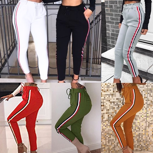 Fashion Women Side Striped Pants Trousers Casual High Elastic Waist Drawstring Slim Pencil Pants